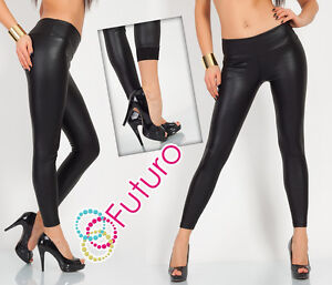 Sexy MAT Thick Heavy HIGH WAIST Black Full Length Leggings Fleece Eco Leather LZ