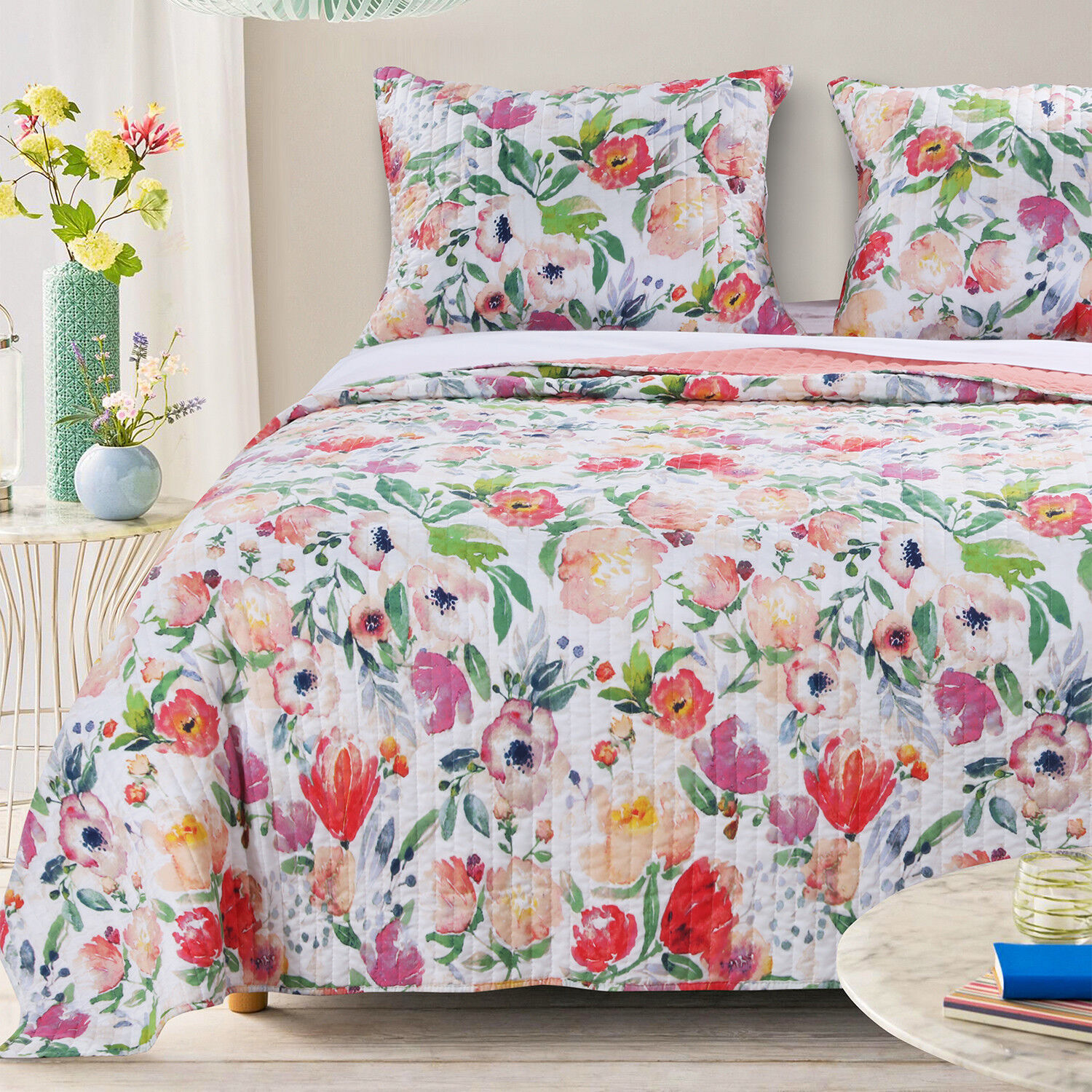 BLOSSOM 3pc King Quilt Set Floral Poppy Garden Nature Country Barefoot Bungalow