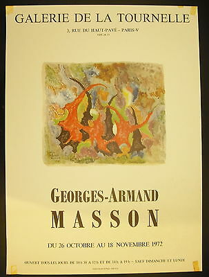 Affiche Exposition Georges-armand Masson Galerie De La Tournelle 26 Oct 1972