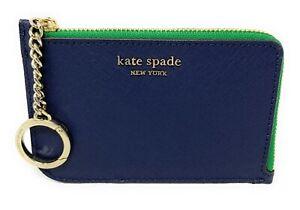 kate spade card holder green  Details about Kate Spade Cameron Medium L-Zip Card Holder Blazer Blue /  White / Green WLRU7