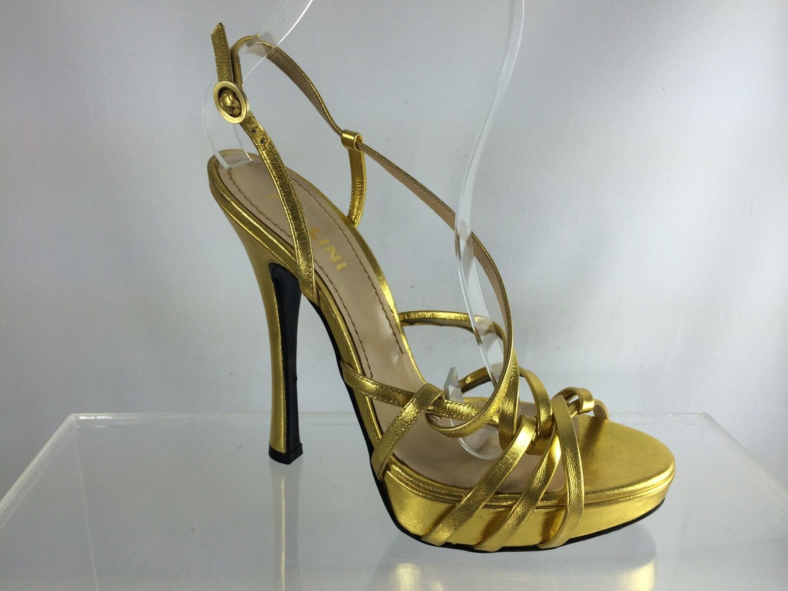 695 New Pollini gold Metallic Leather Strappy High Heel Sandals 37.5