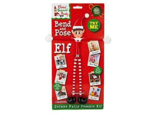 "12/"" BEND AND POSE ELF BEHAVING BADLY NAUGHTY ON SHELF XMAS FESTIVE FUN"