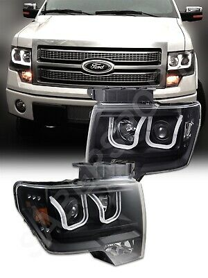 2014 F150 Headlights >> Anzo 111263 Black U Bar Halogen Ver Projector Headlights For 2009 2014 F 150 Ebay