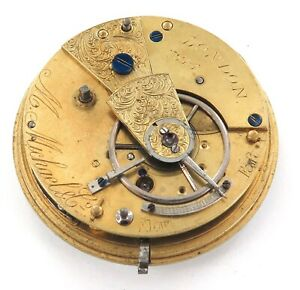 LATE-1800s-ENGLISH-FUSEE-POCKET-WATCH-MOVEMENT-amp-DIAL-M-MICHAEL-amp-Co-LONDON
