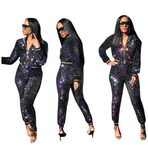 Details about Women Long Sleeve Colorful Sequins Shiny Zipper Bodycon Club Party  Jumpsuit 2pc 7ea2aaa75653