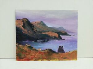 Couple sunset Wales Pembrokeshire Abereiddi seascape original oil painting art