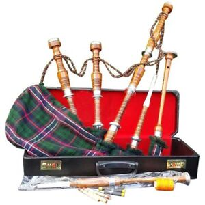 Folk & World Musical Instruments & Gear Great Highland Bagpipe Silver Mounts/scottish Bagpipes With Hard Case Tutor Book