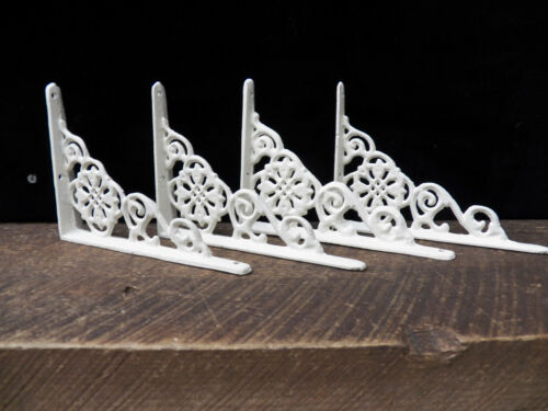 Set of 4 Cast Iron Shelf Brackets New Antique-Style White 4.5 x 6.5