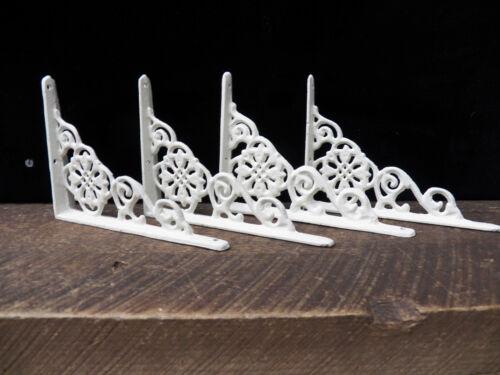 Set of 4 Cast Iron Shelf Brackets New Antique-Style White 4.5 x 6.5