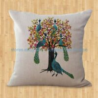 Us Seller- Zippered Throw Pillow Covers Peacock Tree Cushion Cover