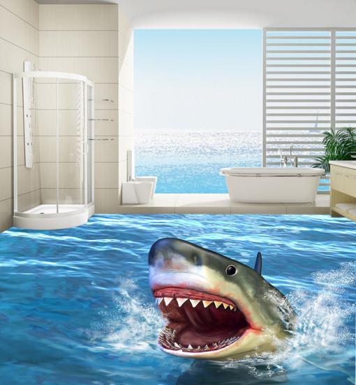 3D Amusing Shark 842 Floor WallPaper Murals Wall Print 5D AJ WALLPAPER UK Lemon