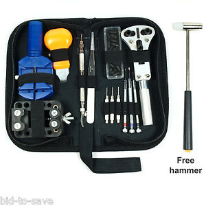 Watch-Repair-Tool-Kit-Opener-Link-Remover-Spring-Bar-Free-Hammer-w-Carry-Case