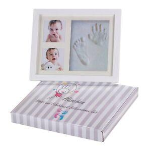 gips 2019 Neuer Stil Baby Handabdruck Und Fußabdruck Bilderrahmen Set Von HÄschen Glas Holz