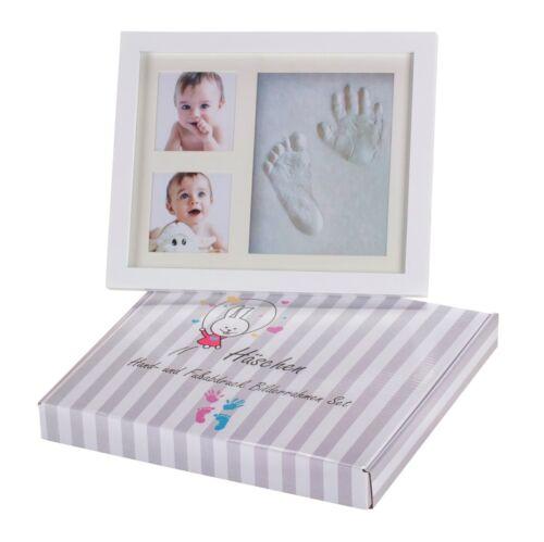 Gips Holz Baby Handabdruck und Fußabdruck Bilderrahmen Set von HÄSCHEN Glas
