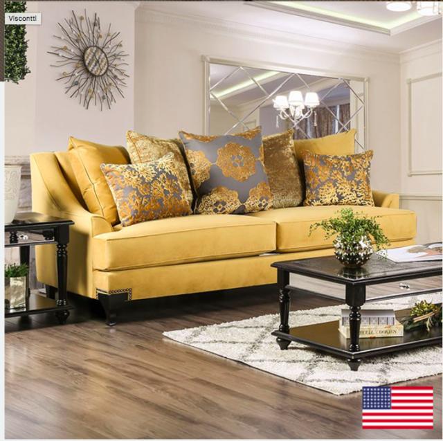 Furniture of America Visconti Velvet Upholstered Sofa in Gold