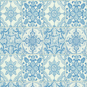 Wallpaper moroccan style tile on roll tiling blue white kitchen bathroom wall ebay