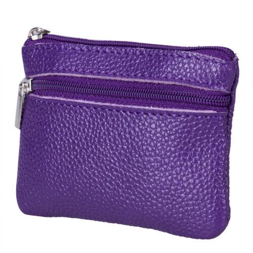 US Women Men Leather Coin Purse Wallet Clutch Zipper Small Change Soft Mini Bag