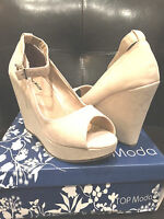 Women top Moda Visit 30 Beige Fashion Platform Wedge Sandals
