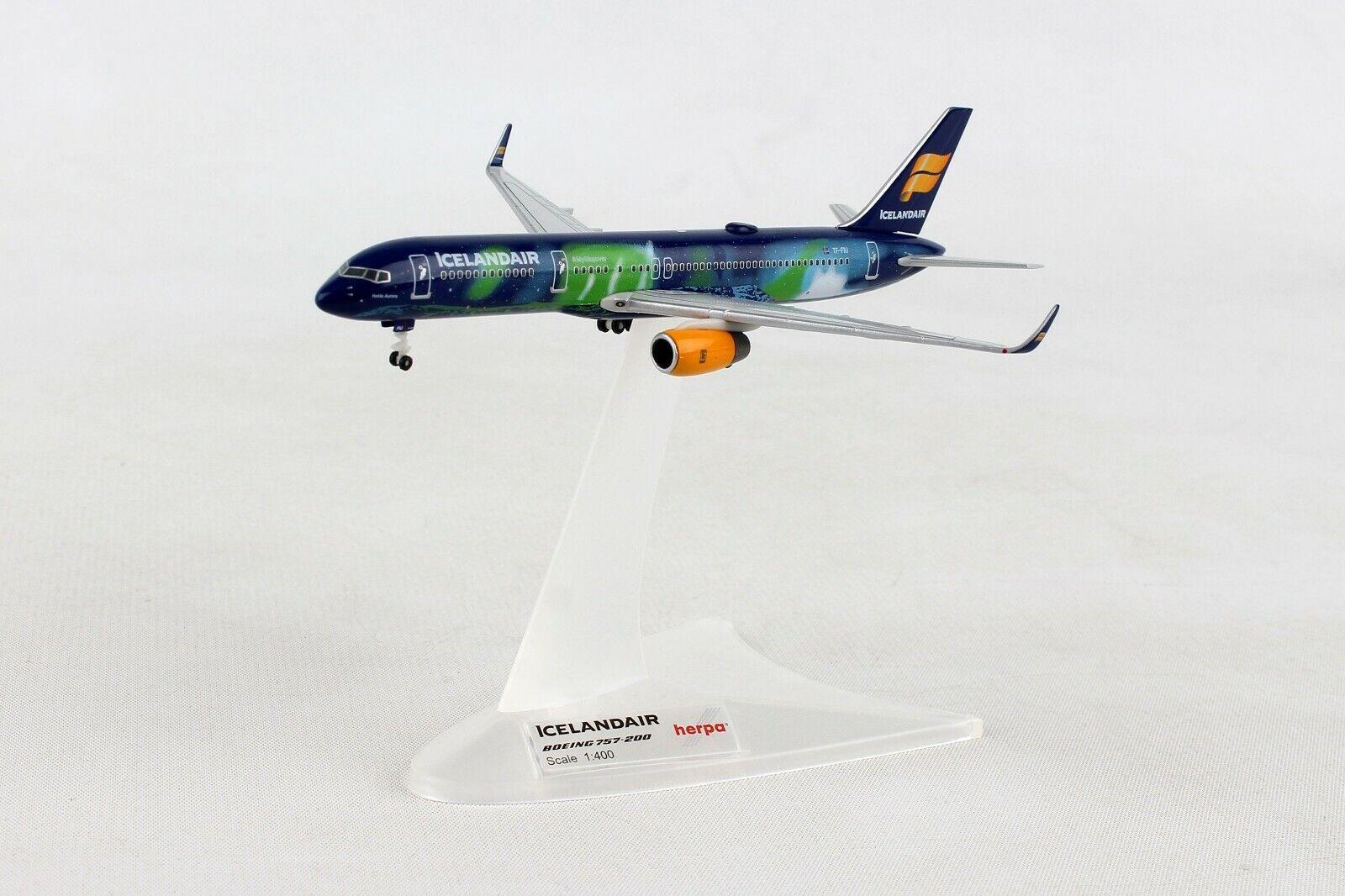 HE562539 Herpa Wings Icelandair Boeing 757-200 1 400 Diecast Modelo Hekla Aurora