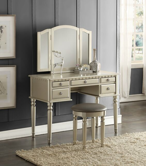 Deluxe Bedroom Vanity Set Makeup Table Stool 5 Drawer Folding Mirror Wood  Silver