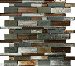 10sf metallic brown glass natural stone mosaic tile wall