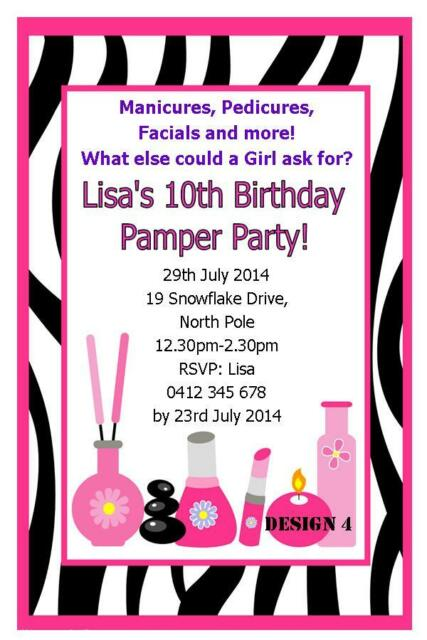 1 X PAMPER SPA PARTY GIRLS BIRTHDAY PERSONALISED INVITATIONS CARDS MAGNETS