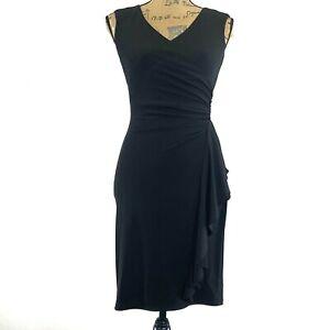 White-House-Black-Market-Dress-0-XS-Jersey-Knit-Faux-Wrap-Side-Ruffle-Sexy-LBD