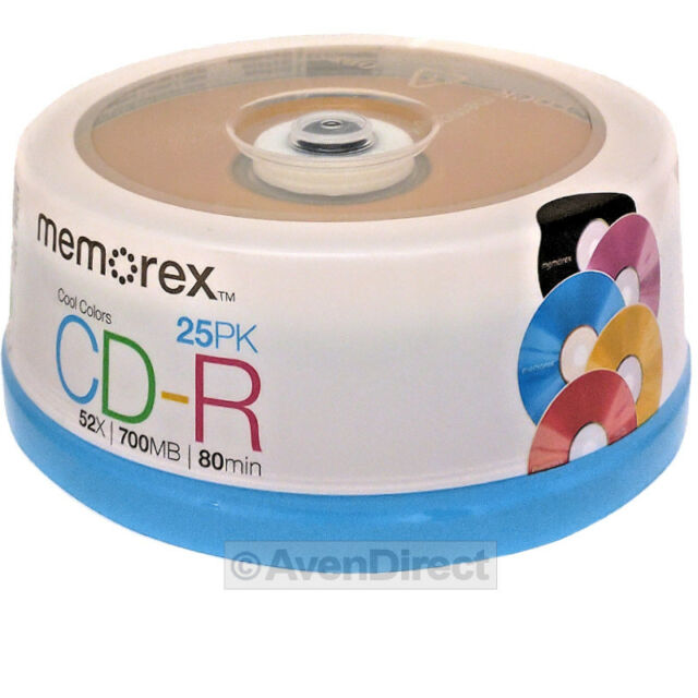 25 New Memorex 52X Cool Color 700MB 80 Min CD-R [FREE USPS Priority Mail]