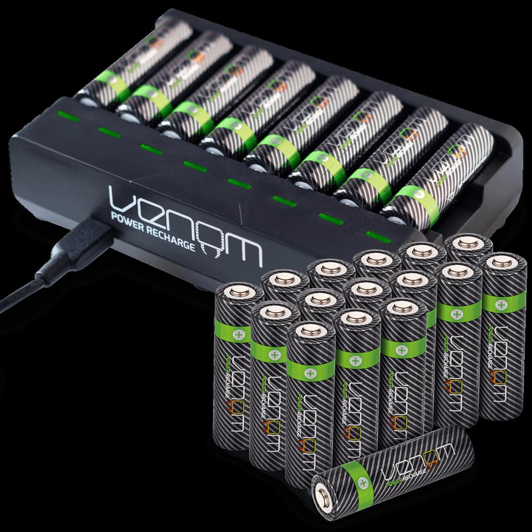 Rechargeable High Capacity AAA / AA Batteries and 8-Way Charging Dock - Venom