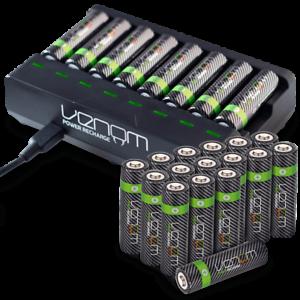 Rechargeable Haute capacité AAA/AA Batteries Et 8-Way dock de chargement-Venom