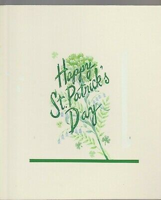 """Collectibles Happy Day Lettering W Bellflowers 8x10"""" #7803 St Patrick's Day Greeting Card Art Original Comic Art"""