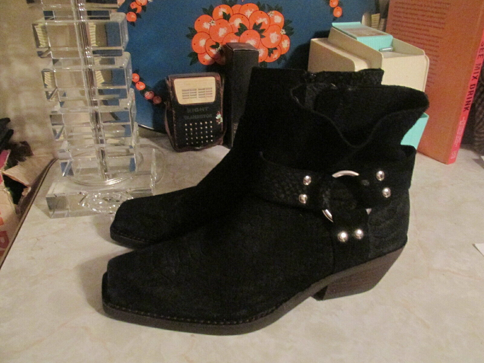 Free People Fairfax western black embossed side zip Suede leather ankle boots 8
