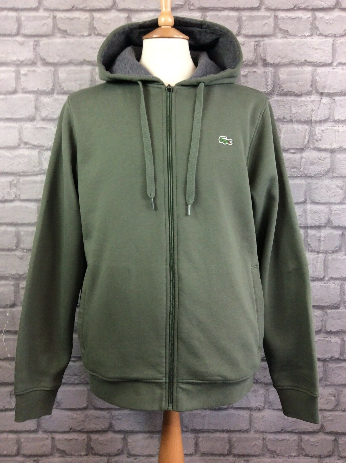 LACOSTE  Herren UK L FR 5 KHAKI LONG SLEEVED HOODED TOP DESIGNER CASUAL