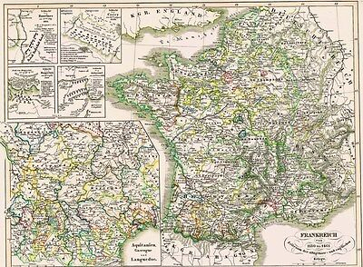 ????⚔️ Original 173 Jahre Alte Landkarte Bouvines Crecy Maupertuis Azincourt 1846