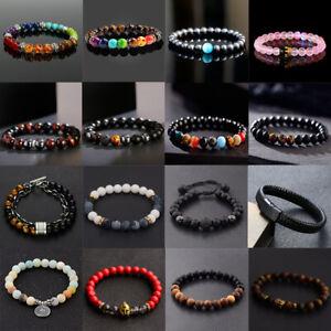 7 Chakra Healing Tiger Eye Natural Stone Yoga Energy Beads Bracelet Jewelry Hot