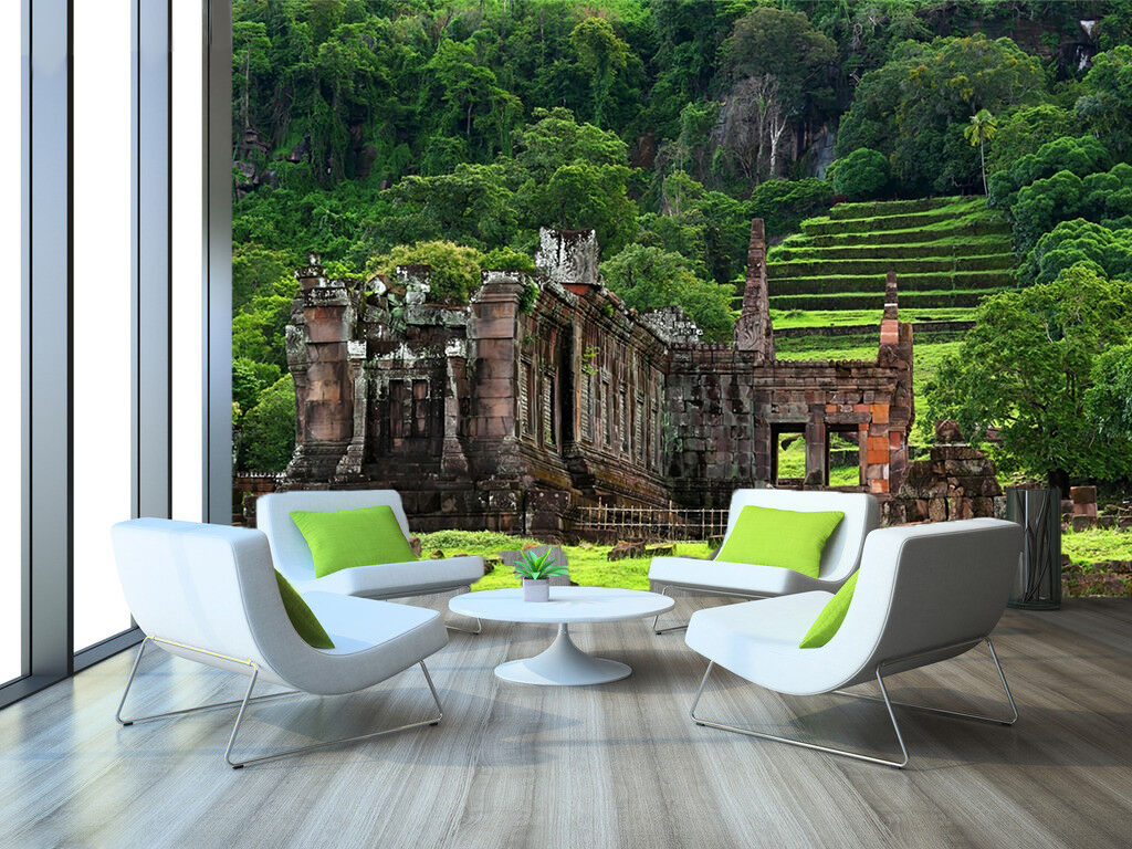 3D Stone Building Hill Wall Paper wall Print Decal Wall Deco Indoor wall Mural