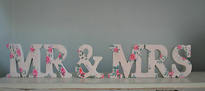 DITSY PINK ROSE WOODEN MR & MRS FREE STANDING WORD LETTER WEDDING DECORATION
