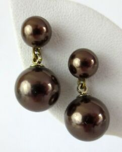 New-Sterling-Silver-Earrings-Chocolate-Brown-Beaded-Dangle-by-Giani-Bernini