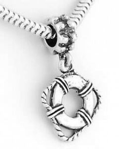 .925 Sterling Silver LIFE PRESERVER CHARM Lifeguard LIFE SAVER RING PENDANT