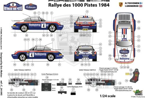 Decals 1//24 Porsche SCRS Rallye des 1000 Pistes 1984 FFSMC Productions