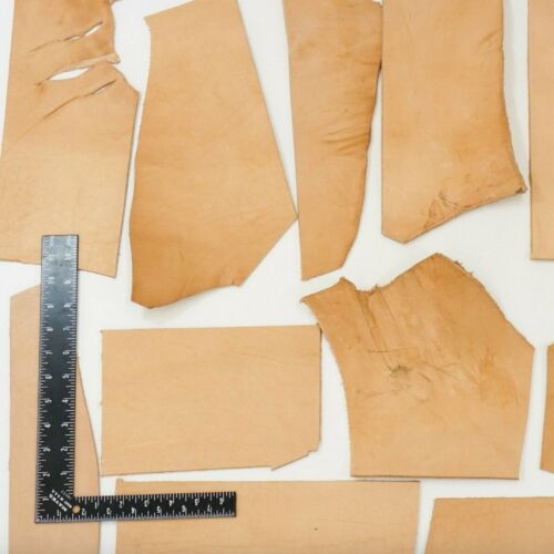 2LB Vegetable Tan Tooling Cowhide Leather Scraps 6-10 oz Thickness Pieces