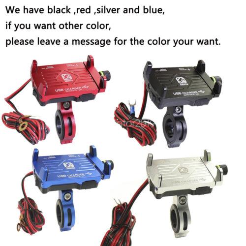 Silver Cell Phone Holder USB Charger for Kawasaki Ninja 636 EX250 300 500 EX650