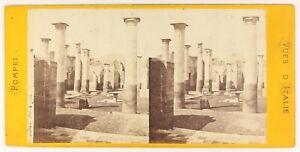 Pompei Italia Foto Stereo PL55L5n Vintage Albumina