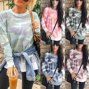 Women-039-s-Plus-Size-Camouflage-Long-Sleeve-Casual-Ladies-Loose-Shirt-Blouse-Tops