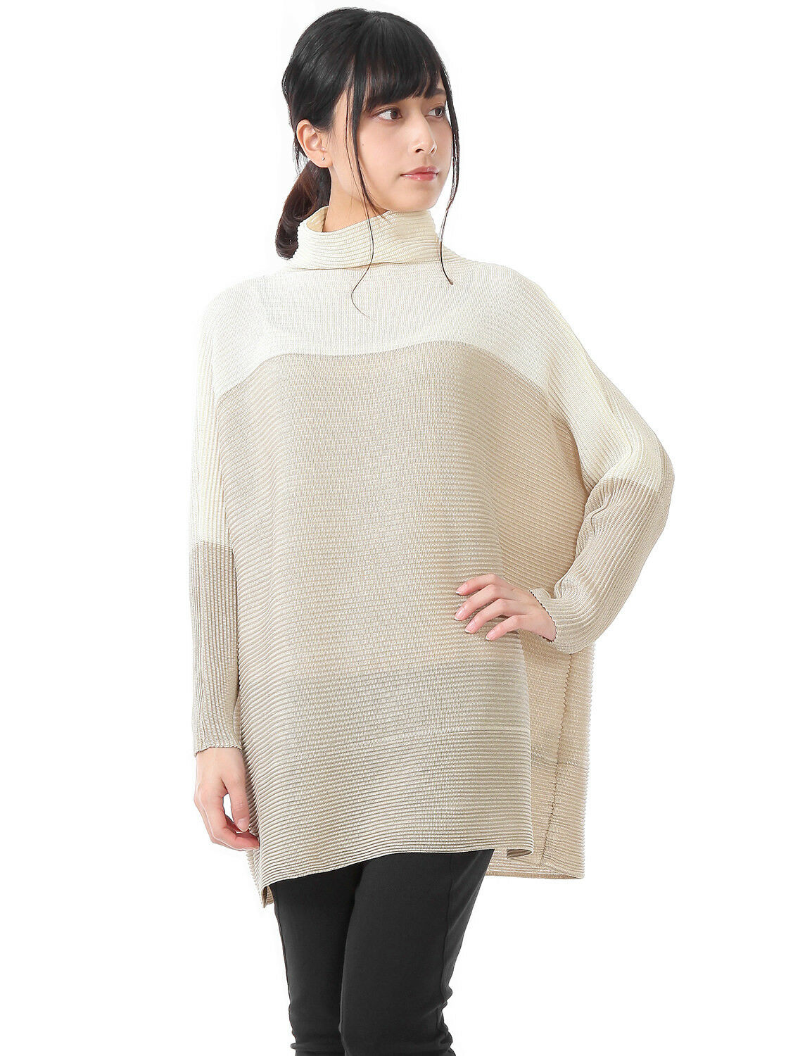 BiFarbe Design Drop Shoulder sleeve High Neck Tunic Ivory and Beige Größe2-28