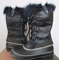 Womens Sorel Joan Of Arctic Leather Insulated Snow Warm Fashion Boots Navy