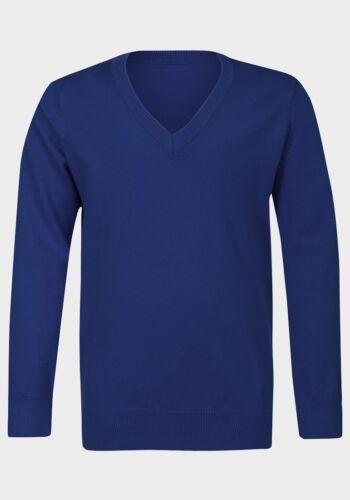 EX M/&S V Neck Long sleeve Jumper School Uniform Cotton Rich  Unisex boys girls