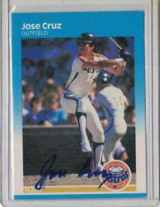 SIGNED 1987 Jose Cruz Fleer #53 Baseball Card Autographed Houston Astros MLB