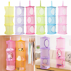 Image Is Loading 3 Shelf Hanging Storage Net Kids Toy Organizer