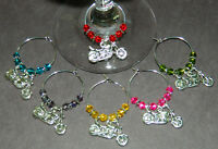 Set Of 6 Colored Crystal Silver Motorcycle Wine Glass Charms Markers Harley Fans
